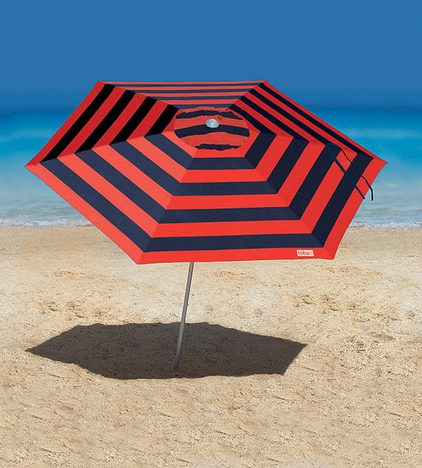 Guarda-Sol Malibu na versão marinho e vermelho.